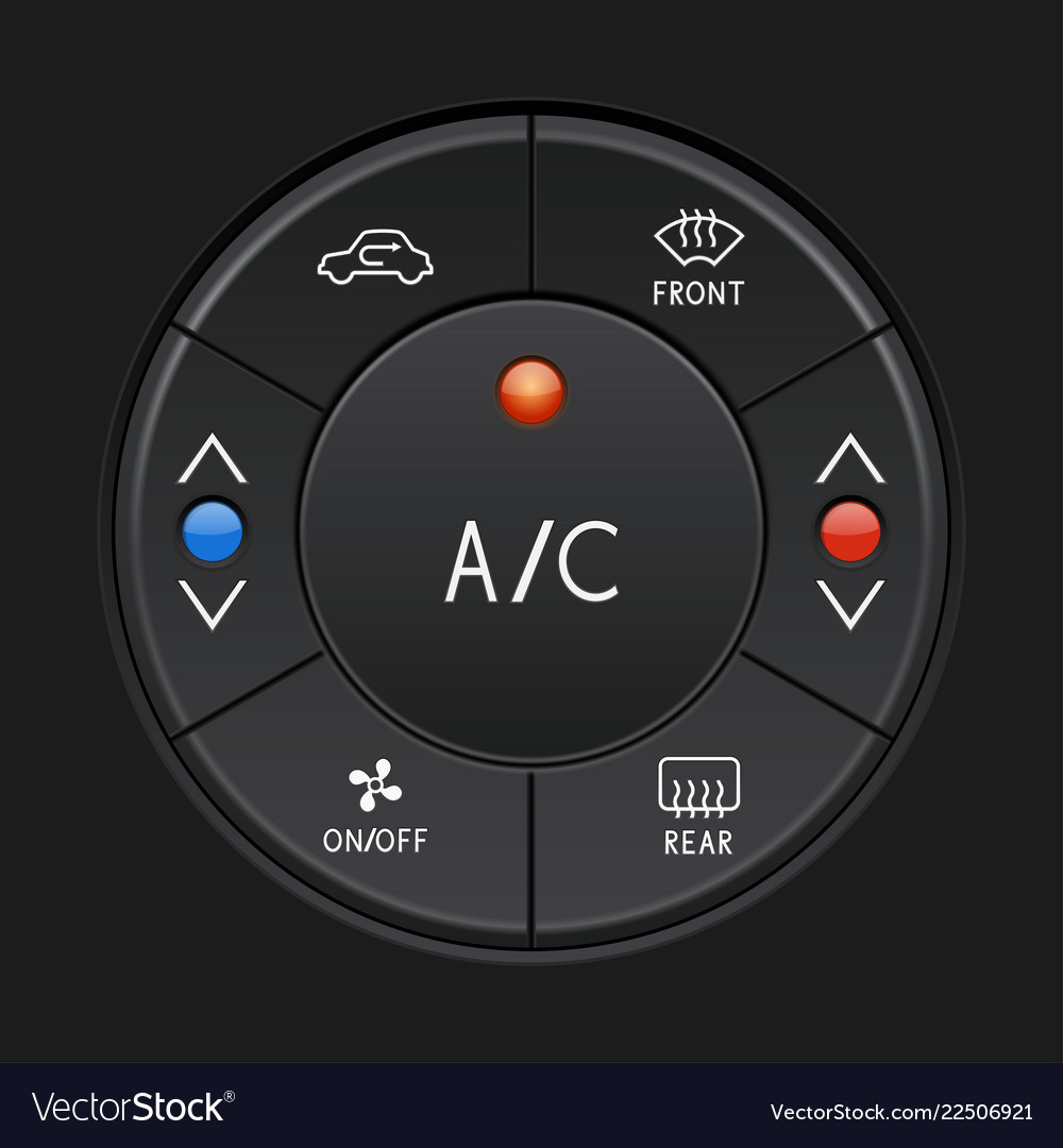 Car air conditioner control panel black buttons