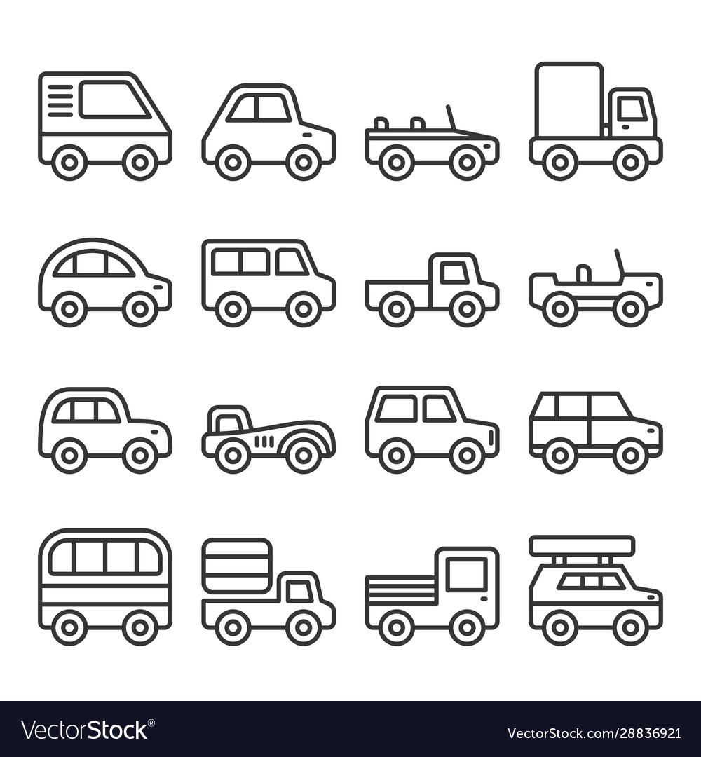 Cars and trucks line icons set