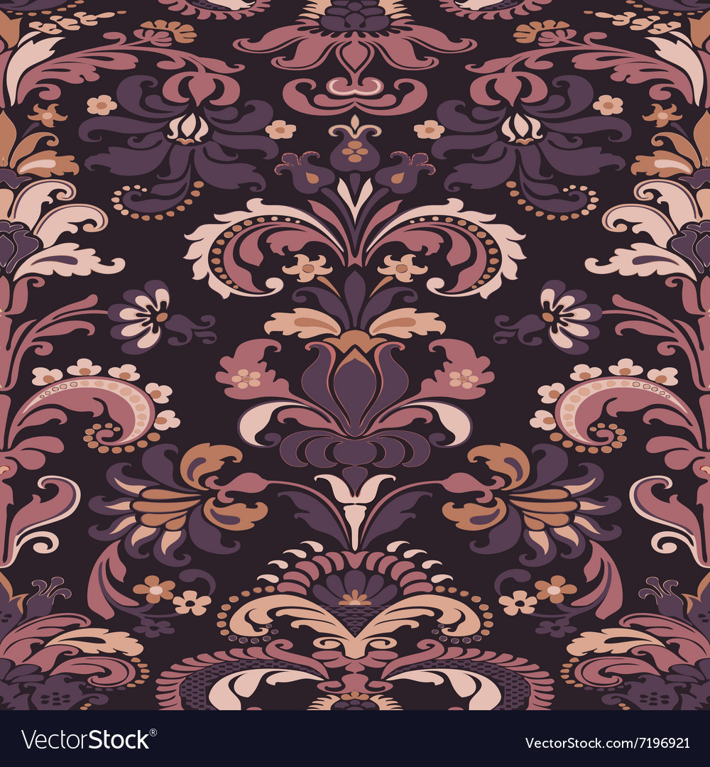 Colorful damask seamless floral pattern background
