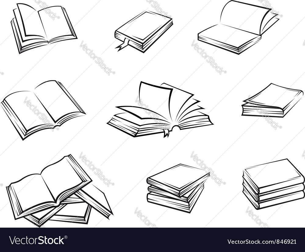 Hardcover books set vector image