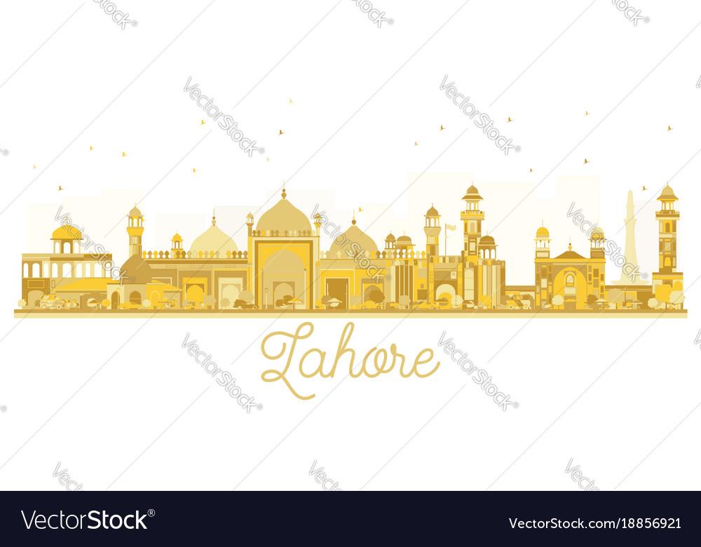 Lahore pakistan city skyline golden silhouette vector image