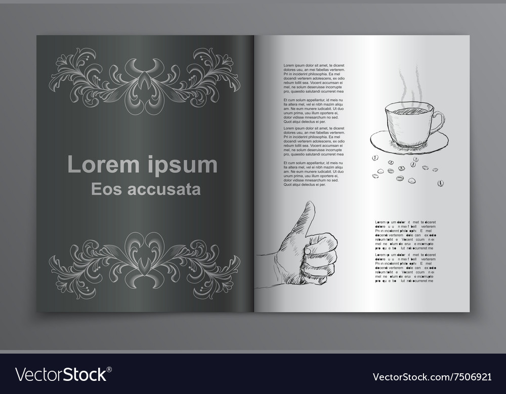 Retro brochure book cover vector image