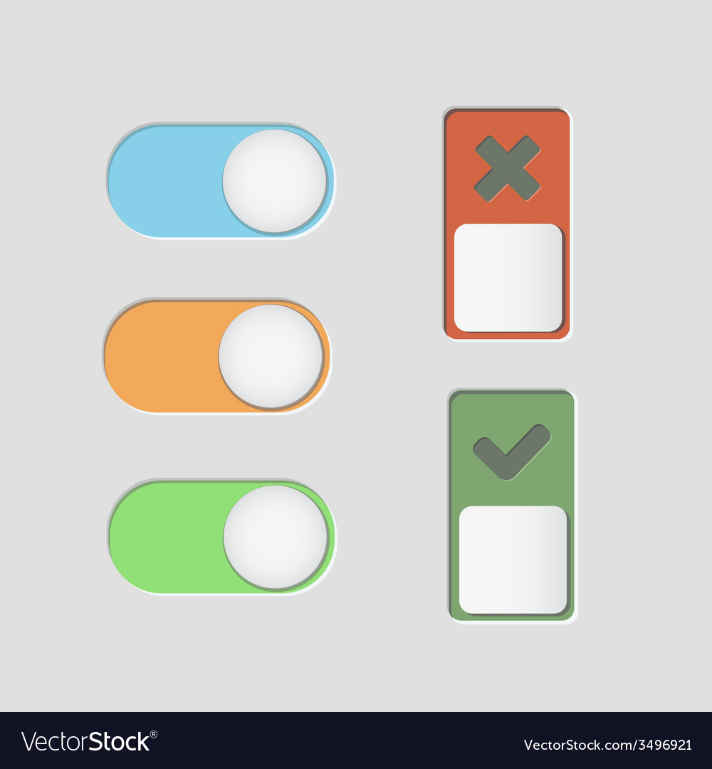 Toggle switch icons and check mark
