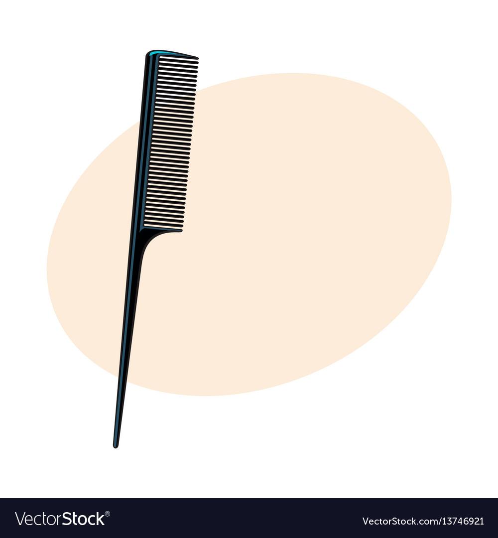 Traditional plastic black hairdresser comb sketch