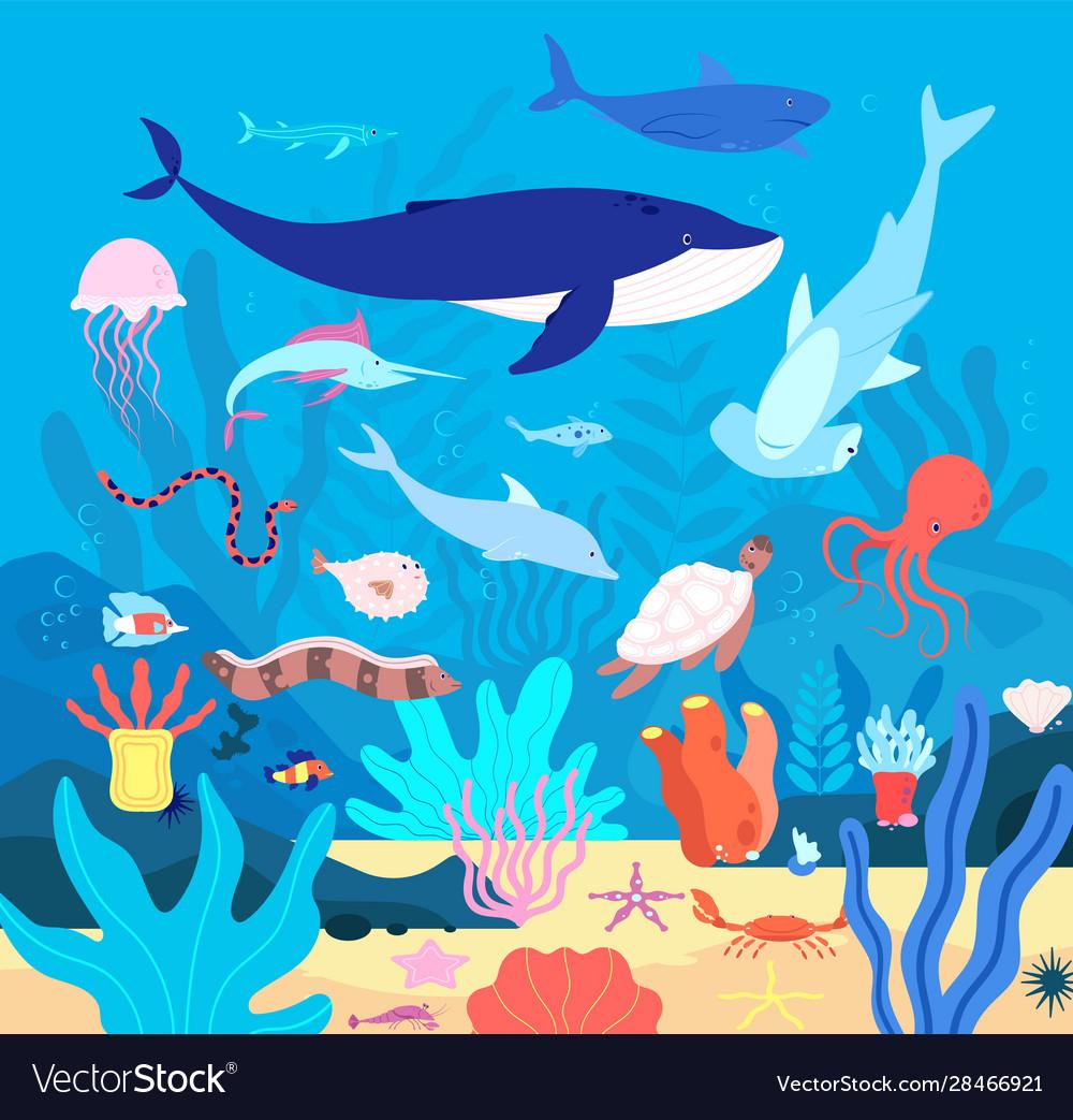 Underwater cute undersea animals cartoon sea