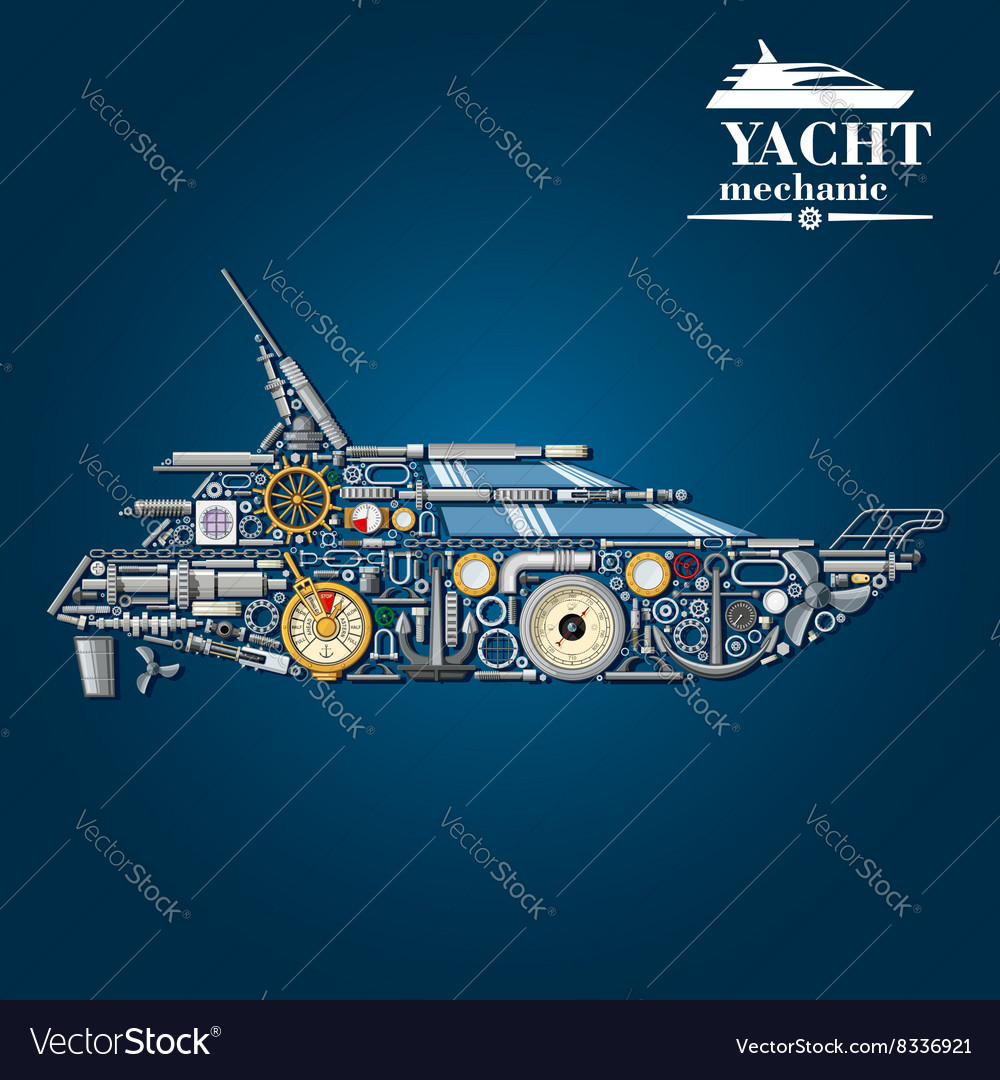 Yacht mechanics icon of motor boat from parts