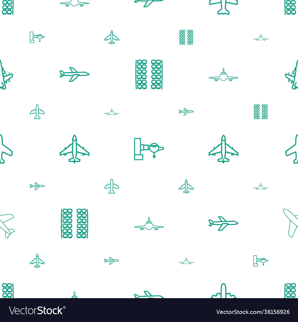 Airline icons pattern seamless white background