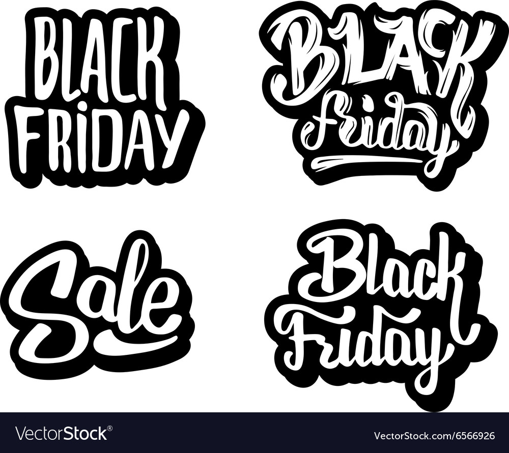 Black friday sale typography stickers vector image