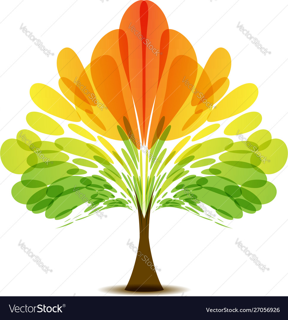 Colorful logo abstract autumn tree art icon