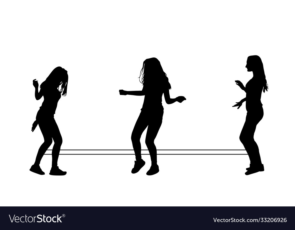 Girls playing rubber band jumping game silhouette