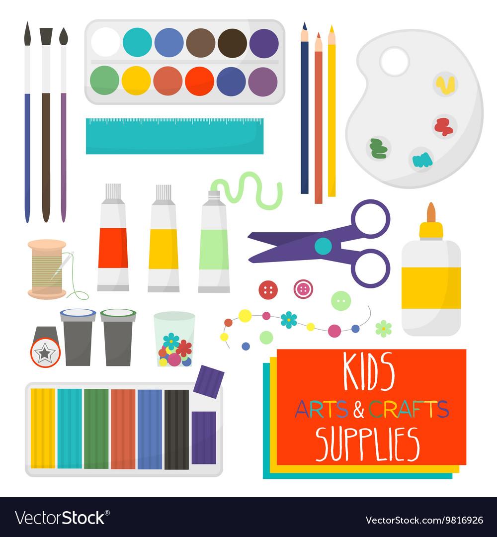Kids Artistic Materials Set Art Supplies Vector Image