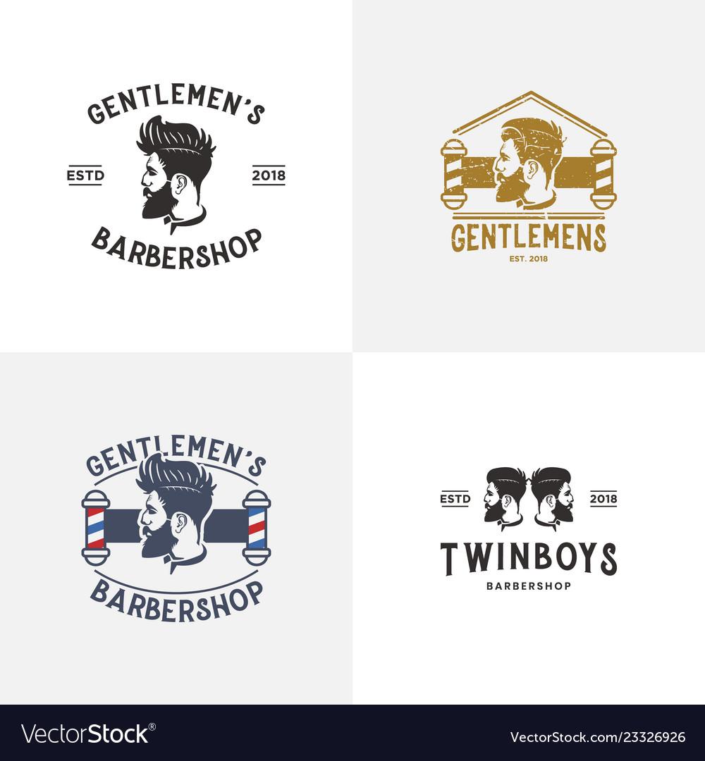 Set of barber shop logo design template