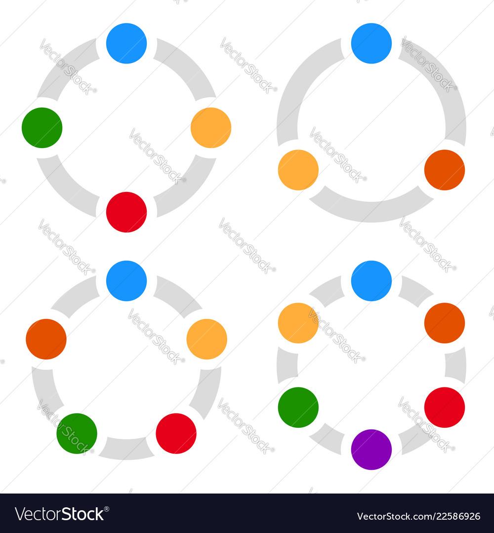 Set of circular charts graphs diagrams 3456 steps