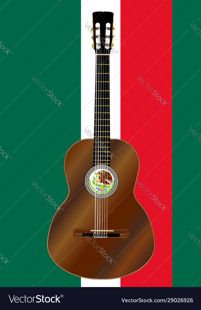 Spanish Acoustic Guitar On Mexico Flag Colors Vector Image
