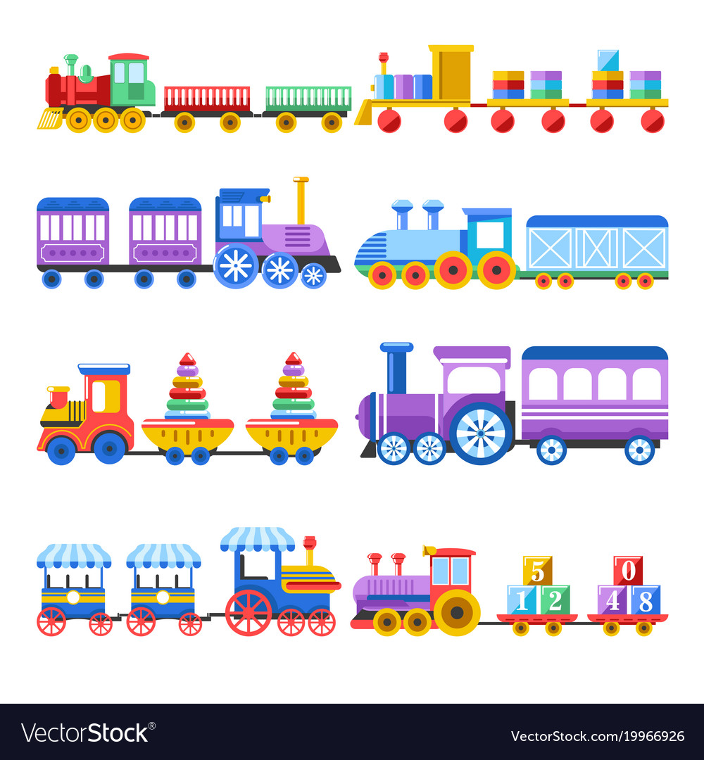 Toy train with kid toys flat icons for