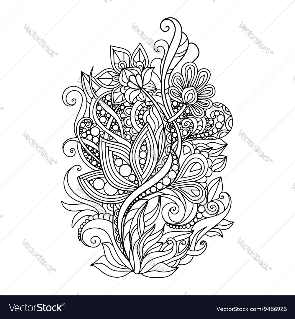Zentangle floral pattern