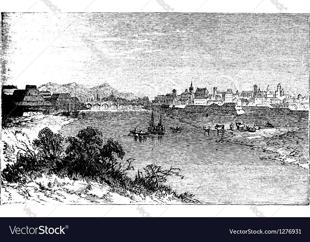 Alessandria city vintage engraving vector image