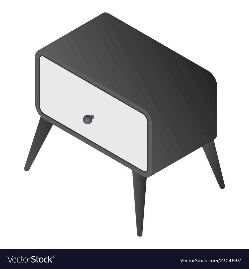 Bedside furniture icon isometric style