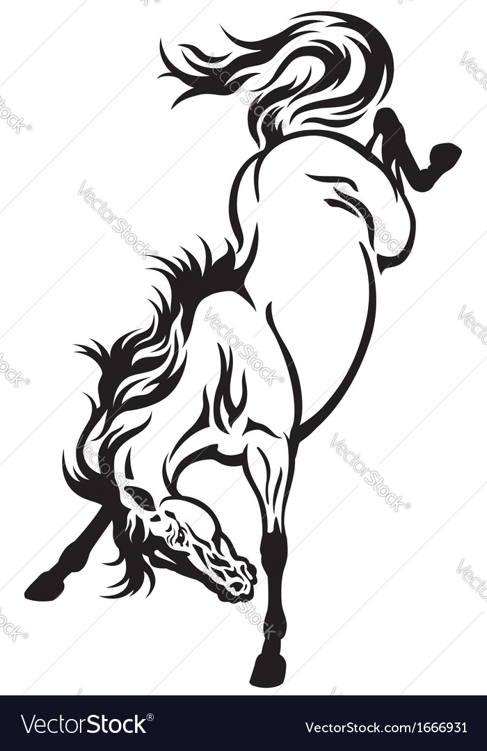 Bucking horse tattoo vector image