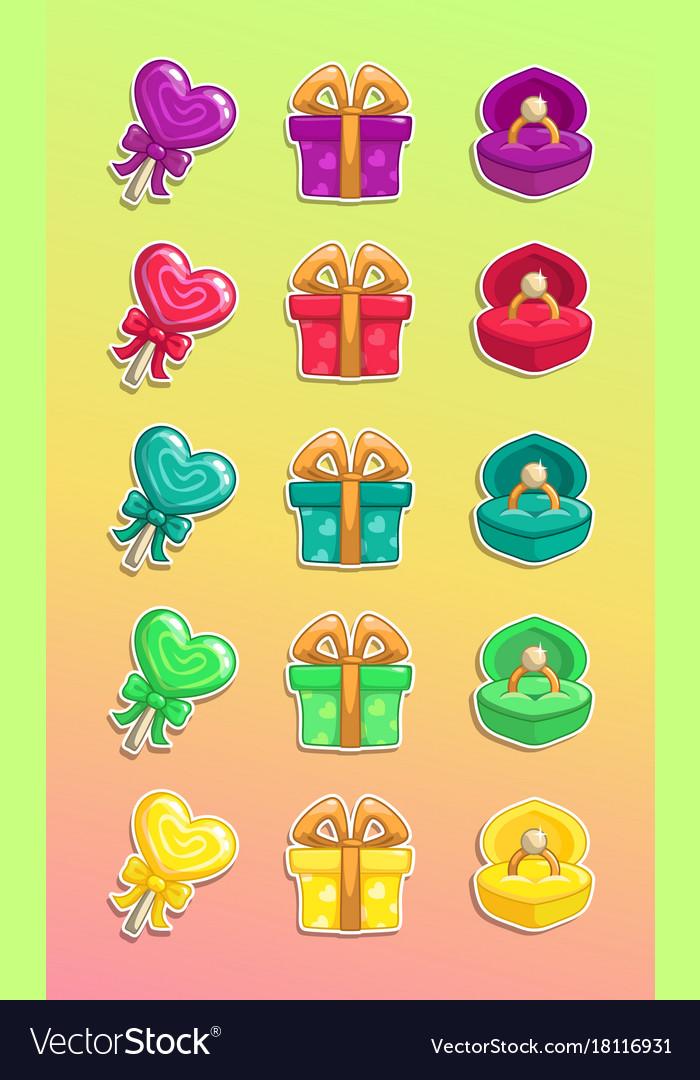 Cartoon colorful romantic stickers set