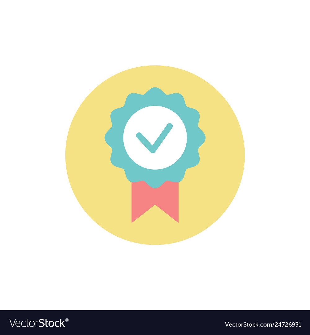 Check mark in circle prize award for achievements