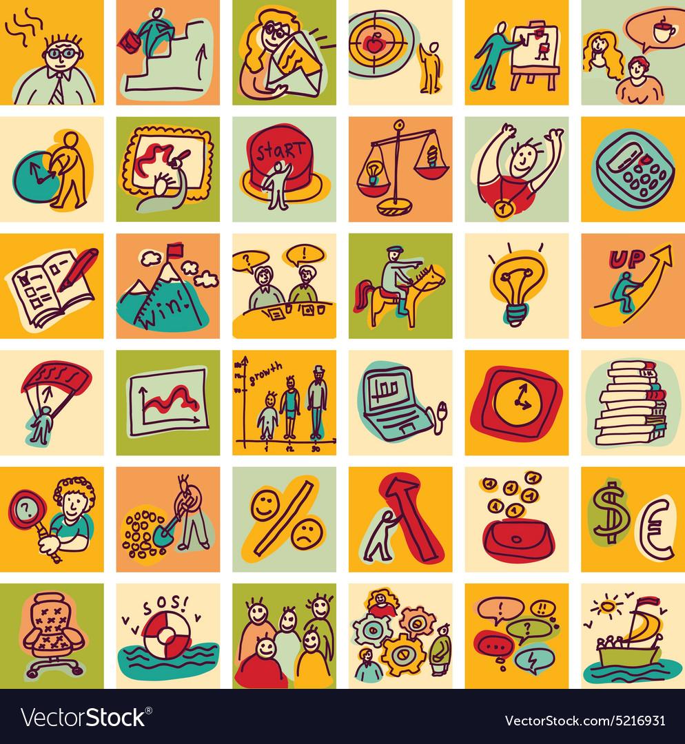 Doodles business icons color set