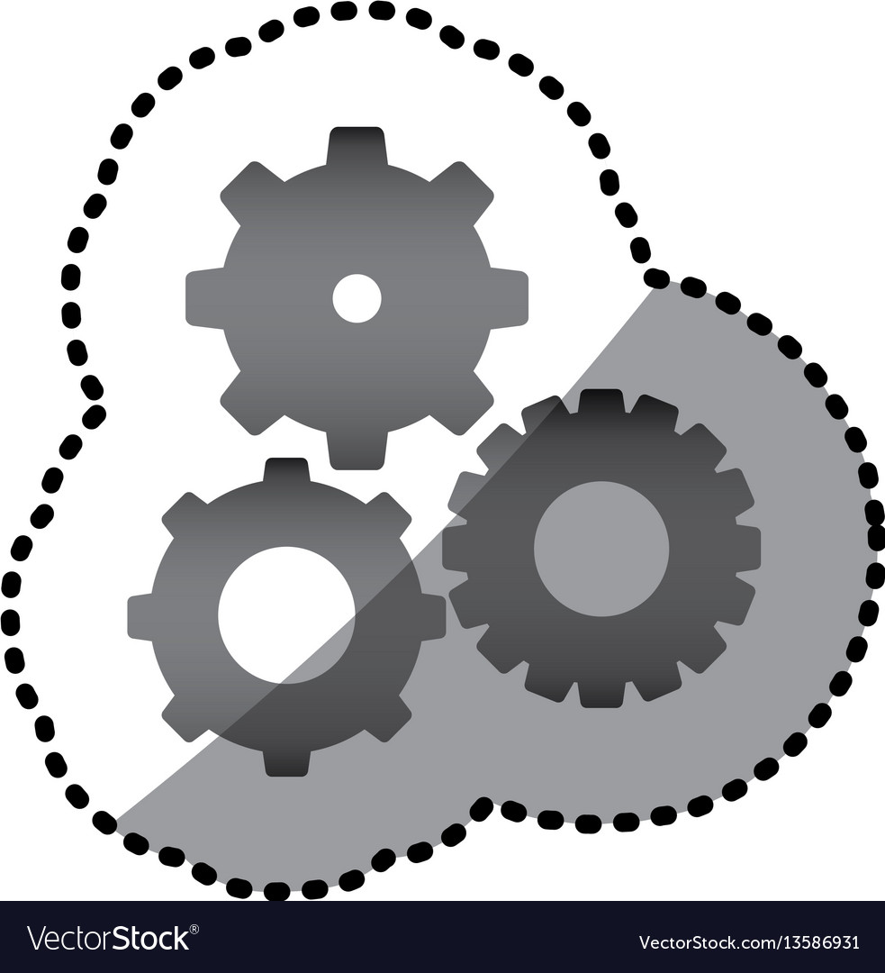Grayscale gears sign icon vector image