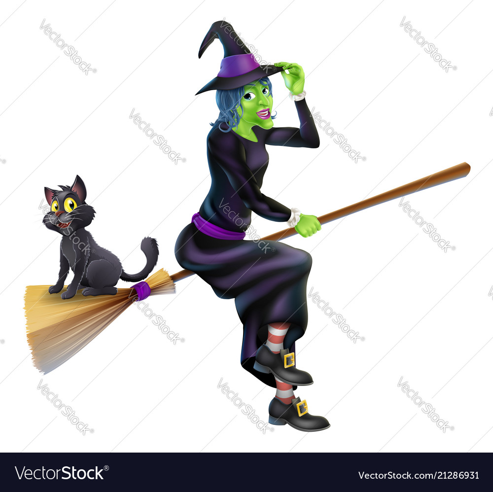 Halloween witch on broomstick with cat