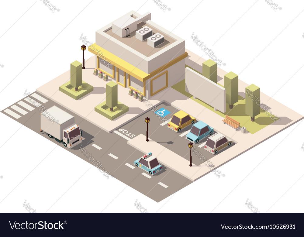 Isometric low poly urban supermarket