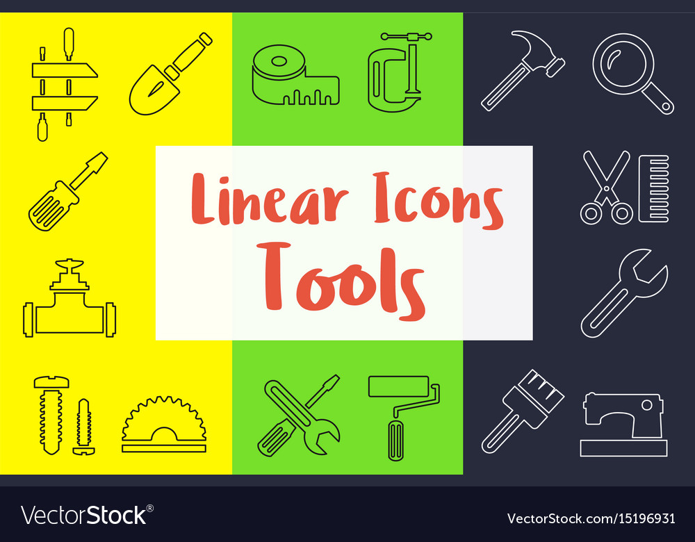 Set of linear icons in the flat style
