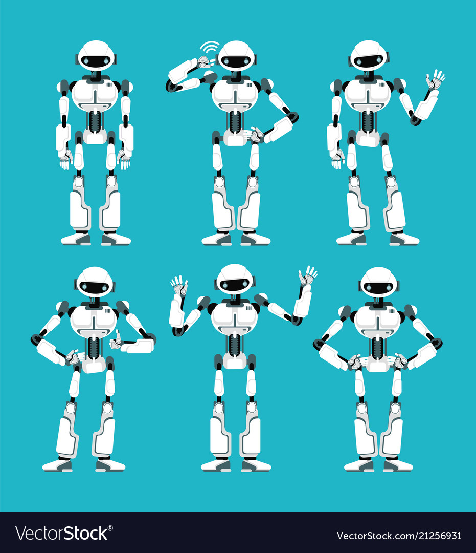 Spaceman robot android in different poses cute
