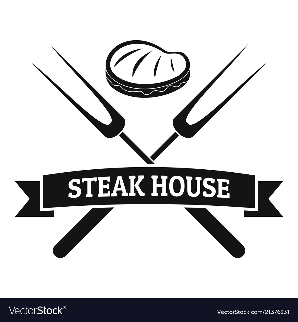 Steak bbq house logo simple style