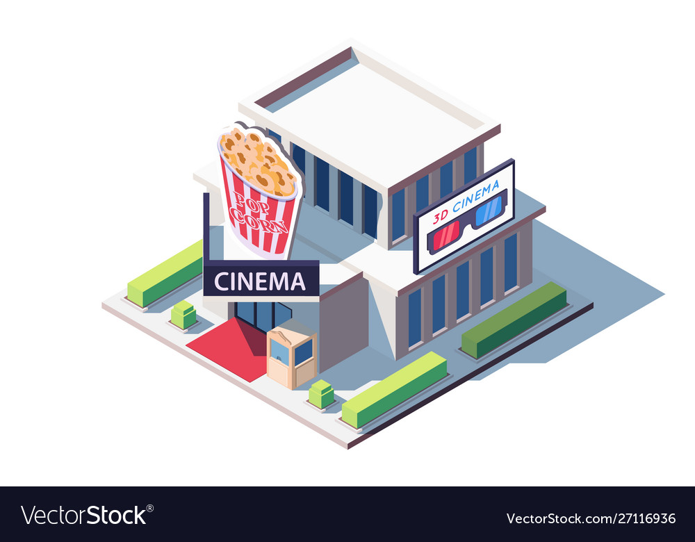 3d isometric public cinema building with popcorn
