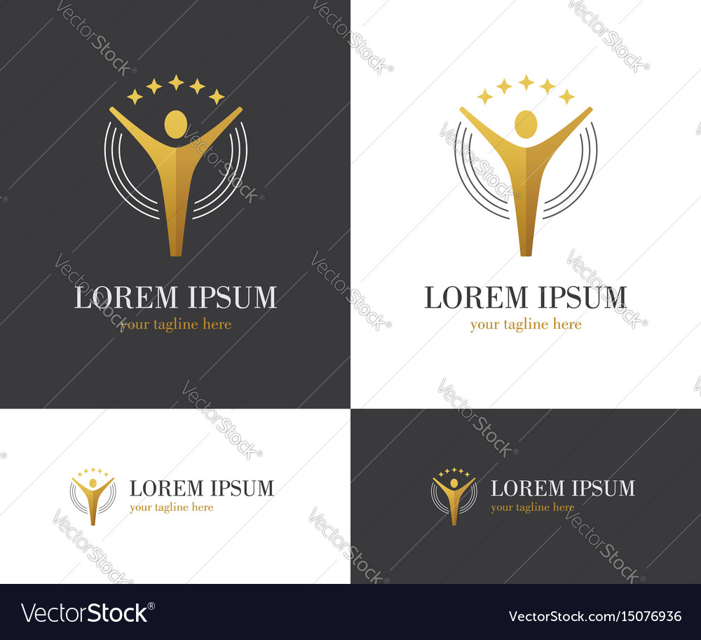 Abstract golden logo with human figure and stars