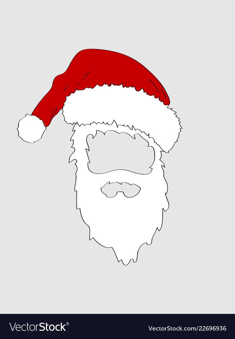 dc2fade017d Christmas hand drawn santa hat and white beard Vector Image