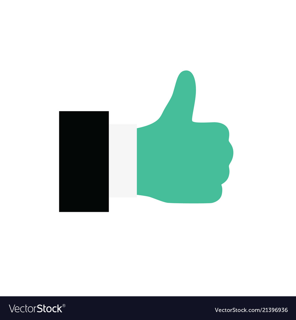 Hand thumb up icon flat isolated on