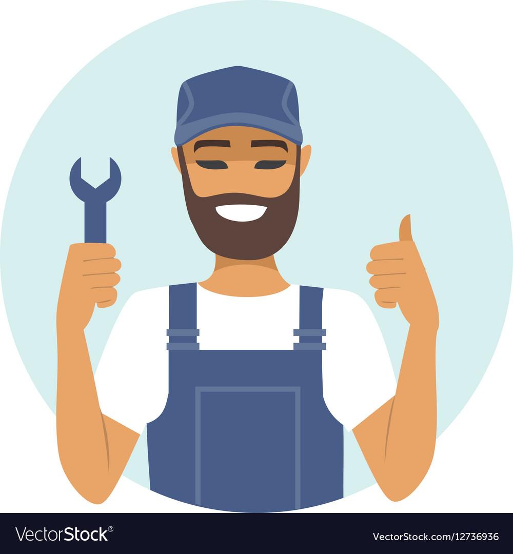 Handyman character thumbs up