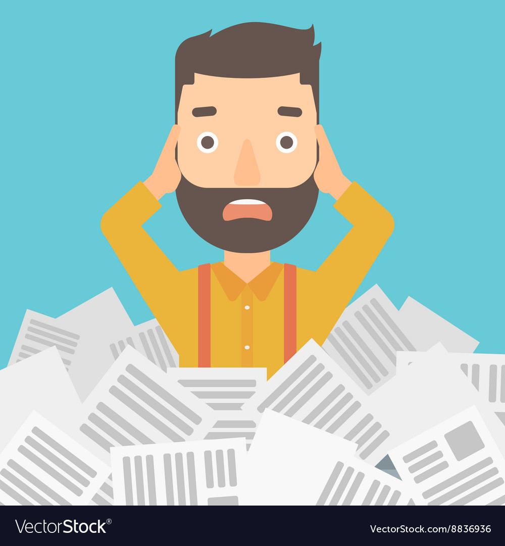 man in stack of newspapers royalty free vector image