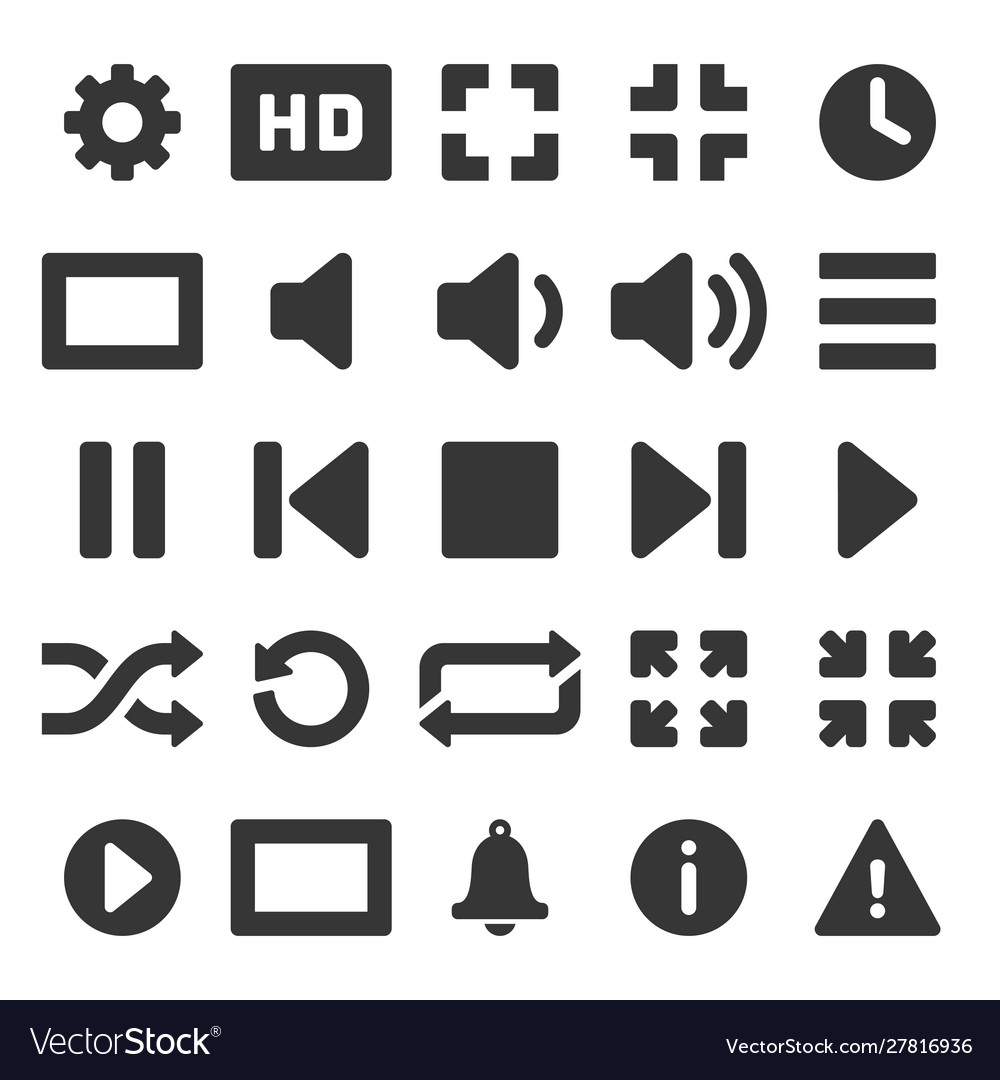 Media and video player icons set