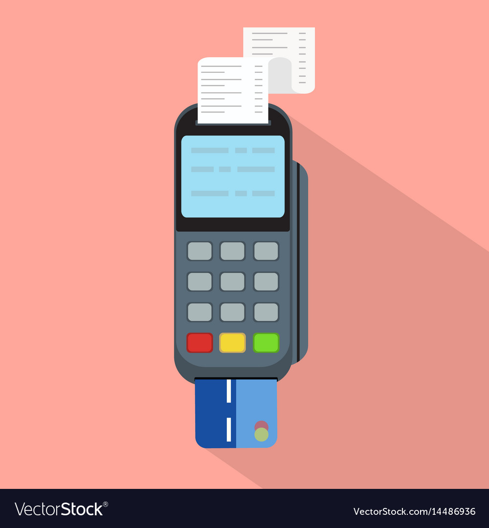 Pos terminal in flat styleconcept of cashless