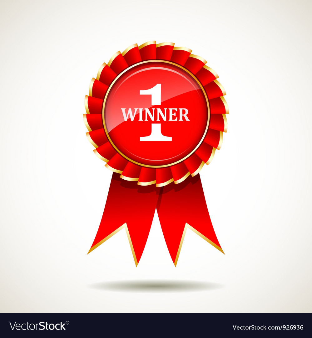 Red and gold the winner ribbon award vector image