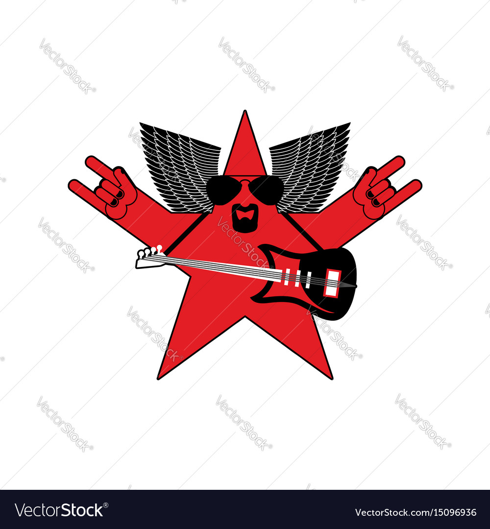 Rock star emblem isolated guitar and wings symbol vector image