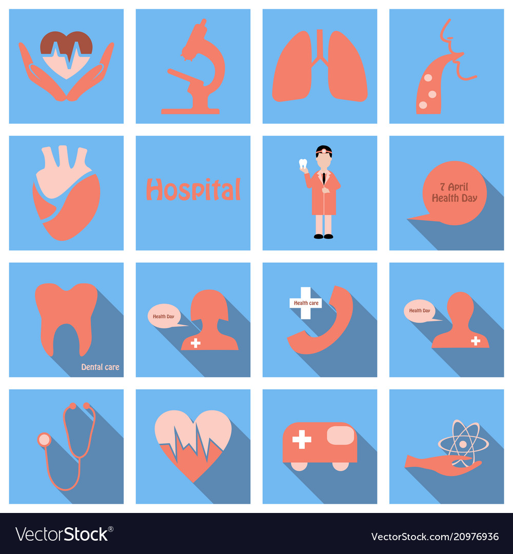 Set of medecine icons in flat style with long