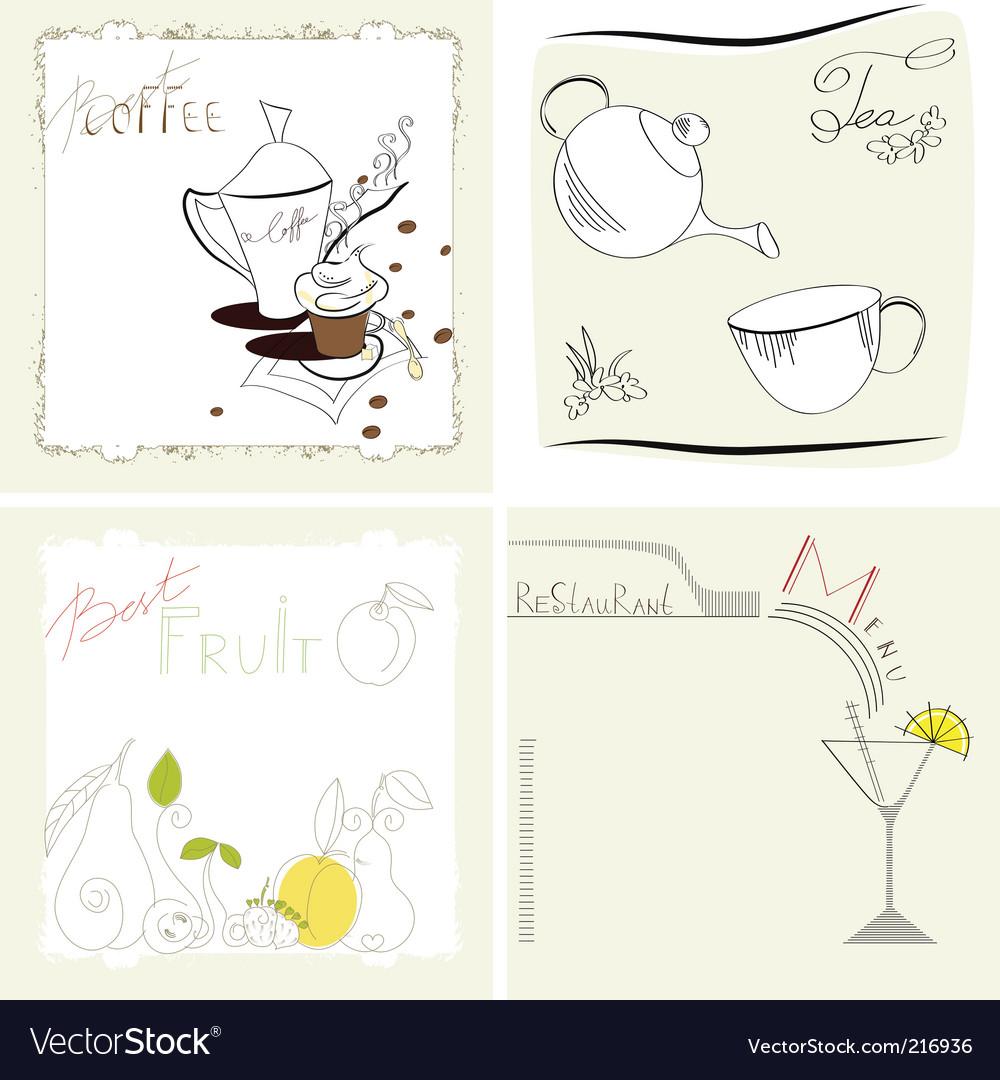 Set of template for menu