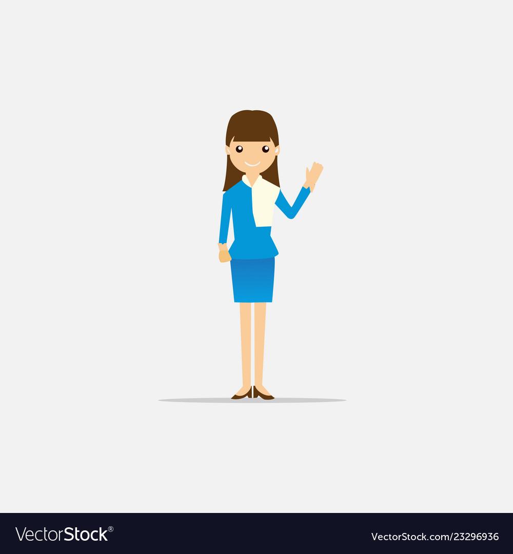Woman with blue dress flat design