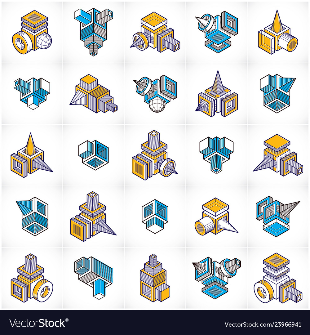 Abstract set isometric dimensional shapes