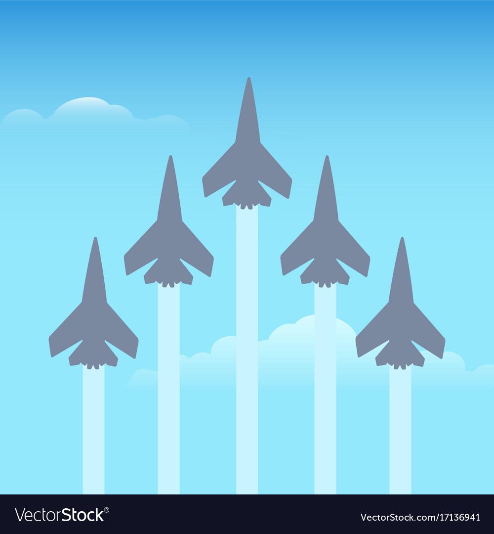 Aerobatics planes in sky