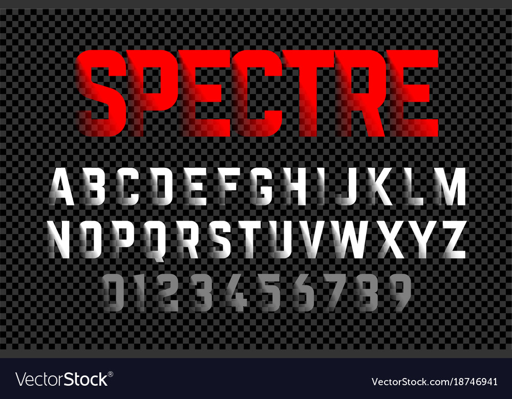 Bold style font with shadow effect on transparent vector image