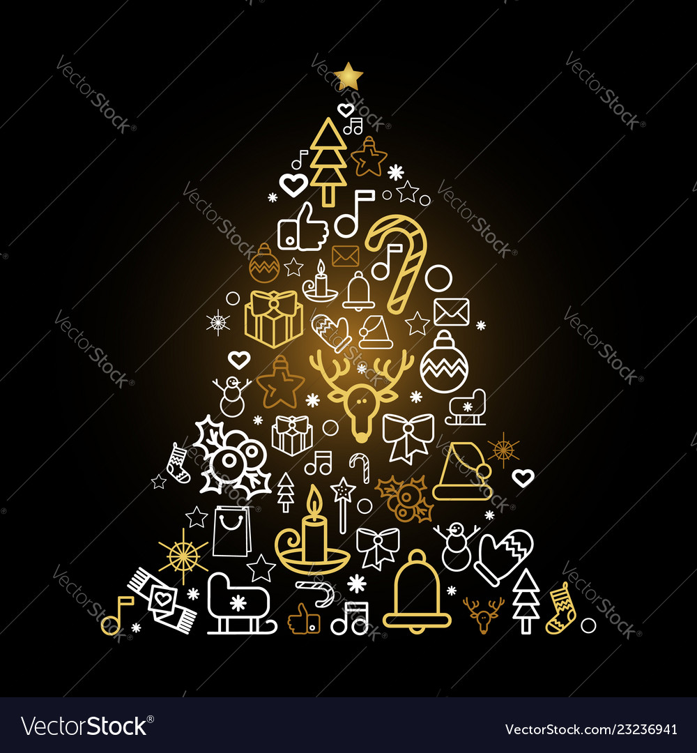 Christmas tree silhouette with holiday linear icon