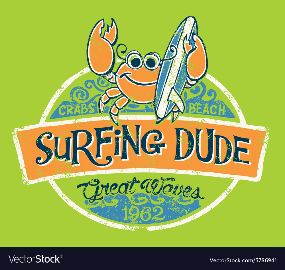 Cute crab surfer vector image